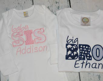 Custom Sibling tee and infant Gown Set Personalized Big Brother Big Sister Little Brother Little Sister