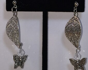 Silver Tone Leaf And Butterfly Dangle Pierced Earrings Handcrafted