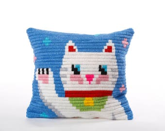 Pillow Embroidery kit, Cat, Maneki-neko, Lucky Japanese Cat Pillow, Needlepoint kit for beginners, Easy needle children kit, Kids Tapestry