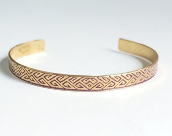 Etched Brass Cuff Art Deco Geometric Design Bracelet - Free Domestic Shipping