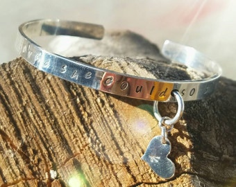 Hand-Stamped Sterling Silver Bracelet *With Heart Charm*- Ladies