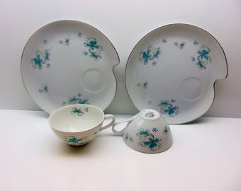 Vintage Shafford Ware Luncheon Set , Teacups and Snack Plates