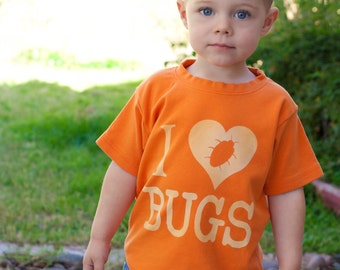 I Love BUGS Toddler Shirt, Ink Free, Sizes 12m to 8, High Quality Tshirt, click for more colors