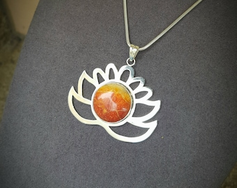 Silver lotus flower and sea bamboo pendant