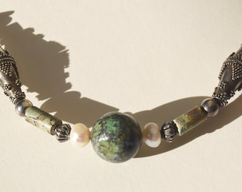 """Sterling and Balinese Silver 24"""" Necklace with Chinese Turquoise and Pearls"""