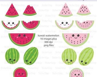 Kawaii Watermelon Digital Clipart - Instant download PNG files