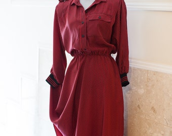 Red A-Line Dress Black Stripes 1980s Shirtdress
