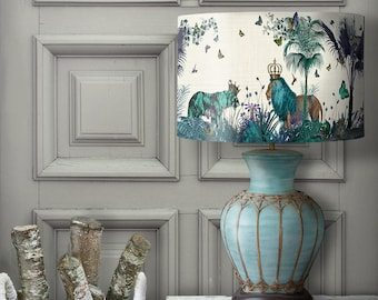 Lamp shades etsy lamp shade tropical lions blue drum lampshade lion decor jungle tropical decor nursery lampshade blue lampshade blue room decor lighting aloadofball Gallery