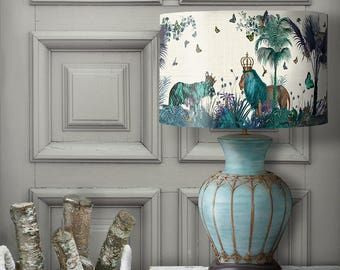 Lamp shades etsy lamp shade tropical lions blue drum lampshade lion decor jungle tropical decor nursery lampshade blue aloadofball Images