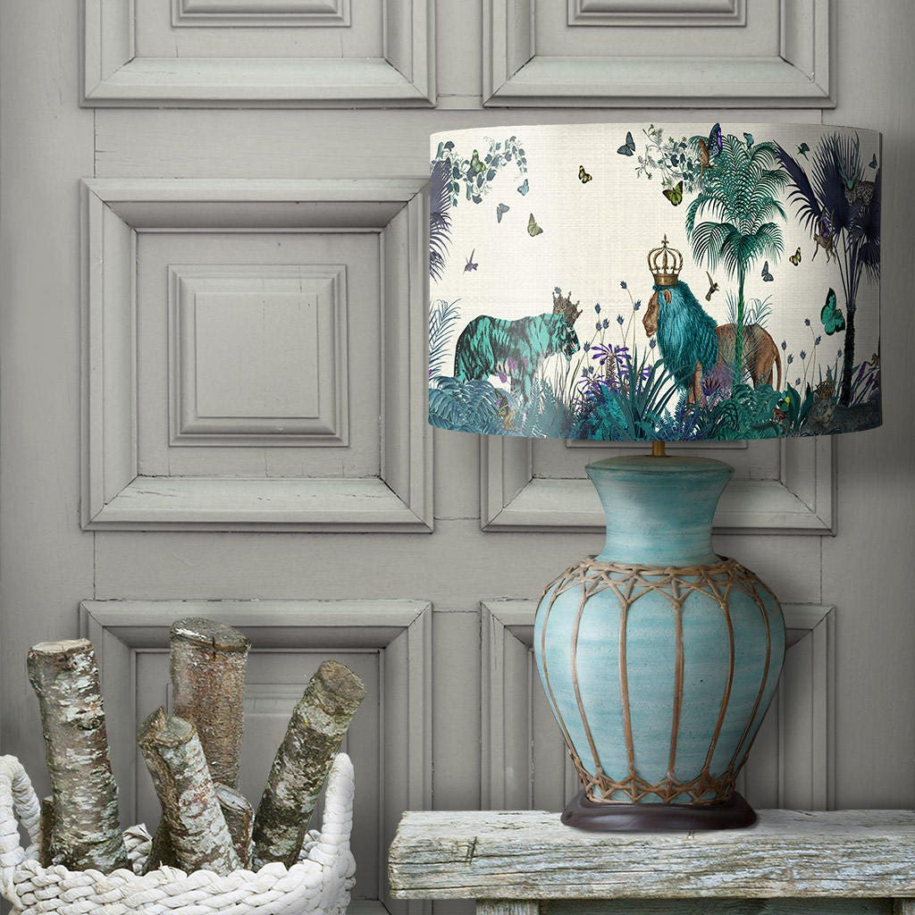 Large Blue Lamp Shade: Lamp Shade Tropical Lions Blue Drum Lampshade Lion Decor