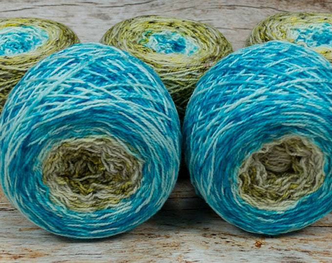 "Full "" Mermaiden's Tale "" - Llark Handpainted Gradient Speckle Fingering Weight Yarn"