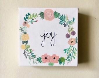 Joy- floral wreath handmade canvas!