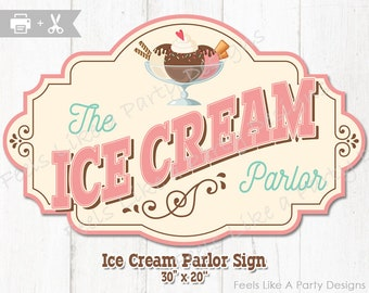 Ice Cream Parlor Sign - DIY Instant Download