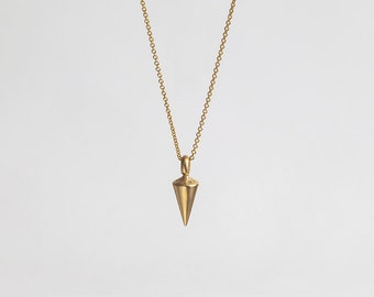 Pendulum Men's Gold Pendant Necklace, Plumb 14kt Solid Gold, Simple Pendant, 14k Yellow Gold Cone Charm, Minimal Layered