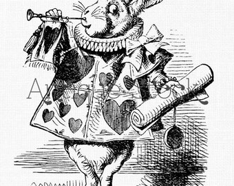 White Rabbit Vintage Image Clipart Alice in Wonderland Drawing - Antique illustration Graphic for Transfers, Scrapbooking, Crafts...