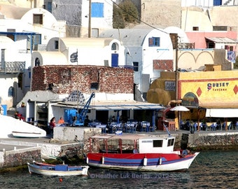Greece Photography - Restaurants By the Water - Santorini - Wall Decor - Mediterranean Fine Art Print
