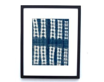 "vintage  Mudcloth Framed Wall Art, Matted indigo mudcloth fabric, Boho wall art 16""x20"""