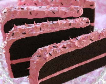 Chocolate Postcard Cake with Pink Frosting
