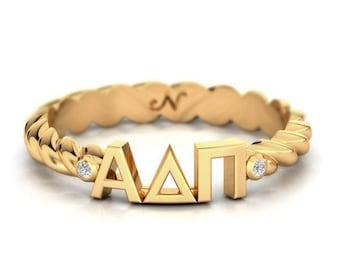 ALPHA DELTA PI Twist Letter Ring
