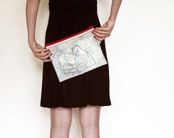 Fold Over Clutch foldover  - women hand bag printed with the map of ancient Jerusalem from 1912 - with red zipper