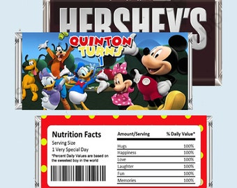 Mickey Mouse Clubhouse Candy Bar Wrapper, Hershey Bar Wrappers PRINTABLE