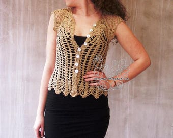 Beige crocheted lace blouse hand crocheted feminine rustic styled lace top