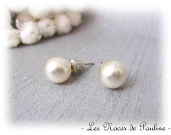 Ivory Stud Earrings bead 8 mm pierced