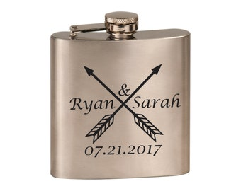 Laser Engraved Stainless Steel Flask - 9 Designs - 20 Fonts - Bridesmaid Gift - Wedding Favor - Sorority Gift -