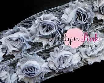 GREY  Shabby Rose Trim - Shabby Chiffon Rosettes - 1/2 Yard or 1 Yard - Shabby Flower Trim - Wholesale Shabby Flower - Chiffon Flower