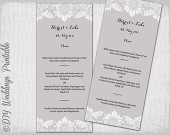 "Lace Menu template -Silver gray DIY wedding menu -""Antique Lace"" digital printable menu -YOU EDIT template - instant download"