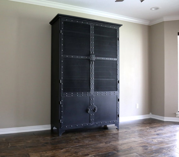 Modern Industrial Armoire Steel Locker Closet Vintage