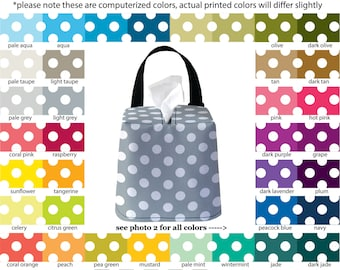 Auto Sneeze Box - Mini Polka Dots - PICK YOUR COLOR - Car Accessory Automobile Caddy Tissue Case Polkadot
