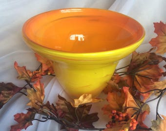 Blown Glass Bowl in Yellow and Orange.  Hand Blown Art Glass.  Fall Decor.  Orange Yellow Glass Bowl.