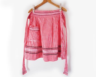 Vintage Gingham Apron Red and White with Black Rick Rack and Chicken Scratch Cotton Half Apron with Pocket Handmade Retro Kitchen Accessory