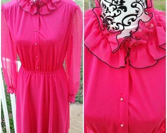 Pink and Black Ruffled Neck/Sheer Arm Dress