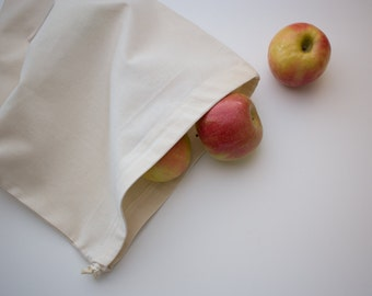 Organic LARGE Produce Bag Reusable  -- Organic unbleached Cotton Muslin, Organic cotton thread and organic cotton drawstring