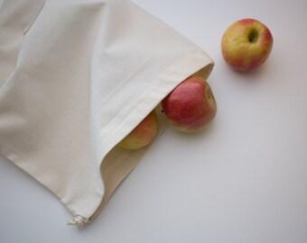 100% All Organic LARGE Produce Bag Reusable  -- Organic unbleached Cotton Muslin, Organic cotton thread and organic cotton drawstring