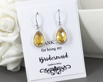 Clearance Light Yellow Drop Earrings Yellow Dangle Earring Bridesmaid Jewelry Bridesmaid Gift Yellow Earrings Wedding Jewelry