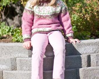 Linnéa - PATTERN for Icelandic lopapeysa (wool sweater) / kids knitted létt-lopi cardigan circular yoke flower symmetrical twinflower girl