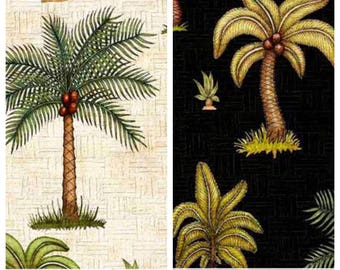 Palm trees fabric - available in black or beige - Caravan - 100% cotton fabric [[fabric by the half yard]]