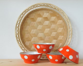 Vintage polka dots dishes, red and white porcelain dish, soviet porcelain dish, muesli dish, soviet vintage, Made in USSR, CAS150