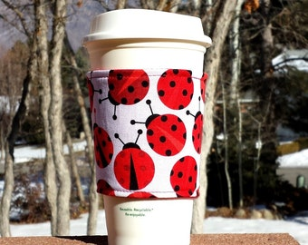 FREE SHIPPING UPGRADE with minimum -  Fabric coffee cozy / coffee cup holder / coffee sleeve - Lucky Lady Bugs