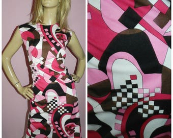 Vintage 60s Pink/Black/White GEOMETRIC print Dolly MOD Scooter dress 16 L 1960s Kitsch PSYCHEDELIC