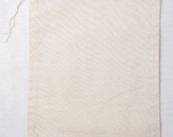 25 6x8 Natural Cotton Muslin Drawstring Bags