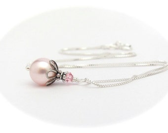 Sterling Silver Pink Pearl Necklace, Gift for Girl Teen Tween, Bridal Wedding Mother of the Bride, Bridesmaid Jewelry