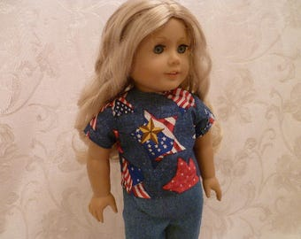 18 Inch Doll July Fourth Stars-n-Stripes Shirt and Jeans, Hand Made Doll Outfit fits American Girl Dolls