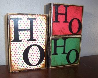 HO HO HO Christmas Decor Wooden Block Set Holiday Decor Stocking Stuffer