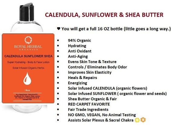 CALENDULA Sunflower Shea Butter | SOLAR Infused Herbs| Body  Face Lotion | Super Hydrating | Anti Oxidant | Anti Aging | Red Carpet Favorite
