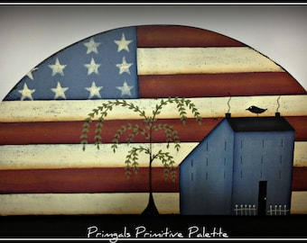 Primitive Americana Wood Door Topper Crown Patriotic Flag Saltbox House Home Decor