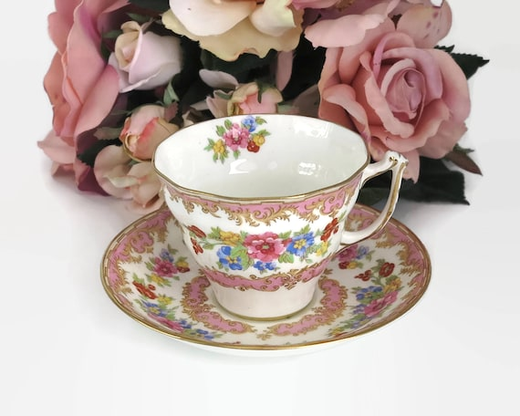 Old Royal China duo, cup and saucer, made in England, pink and multi colored floral pattern, white background, pattern 2878, mid century